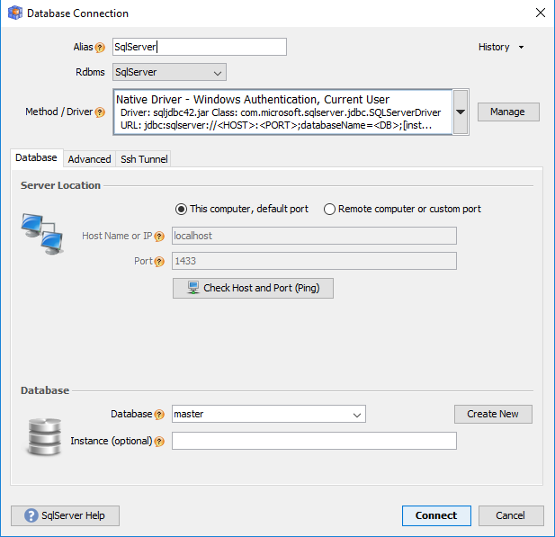 How to connect to SqlServer database